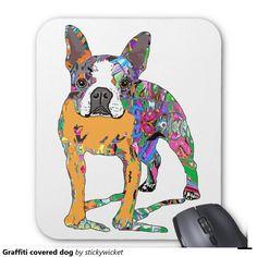 Graffiti covered dog mouse pad