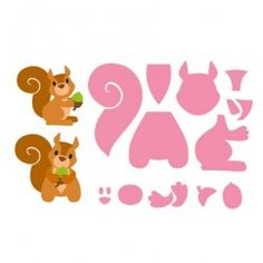 Snijmal Marianne Design Eline`s Squirrel. Paper Piecing Patterns, Felt Patterns, Applique Patterns, Boutique Scrapbooking, Felt Crafts, Paper Crafts, Animal Templates, Marianne Design, Punch Art