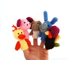 5 animal finger puppet, crocheted duck, pig, sheep, donkey, turkey, tiny amigurumi animals, cute adorable gift for children, play fairy tale