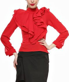Loving this Red Ruffle Top on #zulily! #zulilyfinds