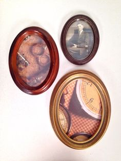 antique 1920s/1930s oval wooden frames - set of 3 by forrestinavintage on Etsy, $28.00