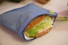 ZIp Insulated Sandwich bag ReUsable Eco friendly pIck your color.