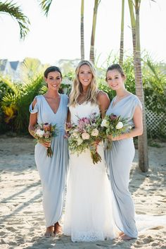 Bridesmaids all wore different Pia Gladys Perey dresses in Ice Blue, which went perfect for the happy couple's beach wedding. They wore our Bridgette, Gwyneth, Madeline, Carla and our Exclusives Dionne, Sienna andIngrid. #whiterunway