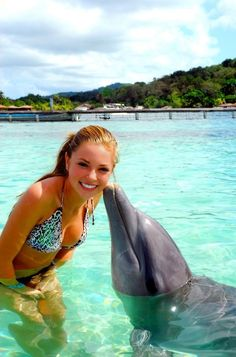 Swim with and get kissed by a dolphin