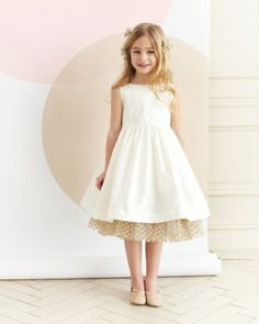 Flower girl dress by Dessy with DIY tulle polkadot petticoat.