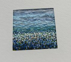 Blue embroidered fabric landscape card  handmade square