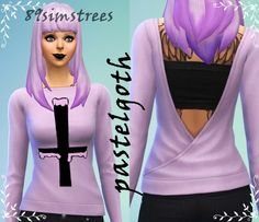 Pastel Goth shirt at via Sims 4 Updates Sims 4 Clothing, Clothing Ideas, Sims 4 Game, Sims 4 Update, Sims Mods, Sims 4 Custom Content, Sims Cc, Shirts, Clothes For Women