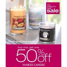 Buy 1 Get 1 50% off through Aug 2nd.  See sales associate for details. | Yankee Candle | The Promenade Bolingbrook