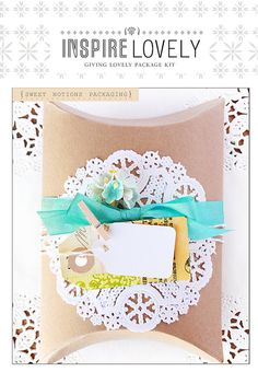 bows, doily, clothes pins, flowers and tags..oh my!