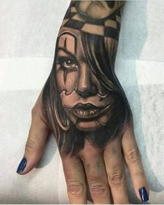 Chicano Full Sleeve Tattoo by Andy Blanco Tattoo Girls, Skull Girl Tattoo, Clown Tattoo, Hand Tattoos For Guys, Skull Tattoos, Sleeve Tattoos, Tattoos For Women, Payasa Tattoo, Bad Tattoos