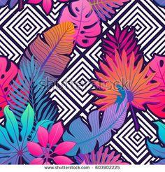 Exotic leaves and flowers on geometrical ornament Seamless tropical pattern Vector background with paradise bird flower and rhombus - bu vekt r Shutterstock ta sat n al n ve ba ka g rseller bulun Tropical Pattern, Leaf Flowers, Exotic Flowers, Colorful Flowers, Decoupage Paper, Cute Cartoon Wallpapers, Vector Background, Pattern Wallpaper, Geometric Shapes