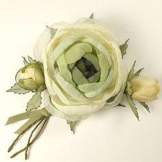 Купить Зимний Букет Лесной Феи. Брошь с цветами из ткани - оливковый, слоновая кость