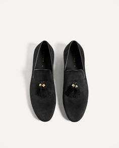ZARA - MAN - BLACK VELVET LOAFERS WITH TASSELS