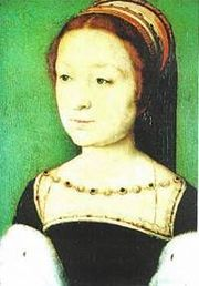 Madeleine of France, also known as Magdalene of Valois, Queen consort of Scots. Lived 1520 –1537), first spouse of King James V of Scotland. Daughter of King Francis I of France and Claude, Duchess of Brittany (daughter of King Louis XII of France and Anne, Duchess of Brittany). Died of tuberculosis. Buried at Holyrood Abbey.