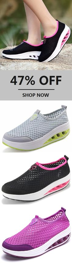 e0fc2e5196bfe Big Sizes Mesh Breathable Pure Color Slip On Athletic Platform Casual Sport  Shake Shoes.Black