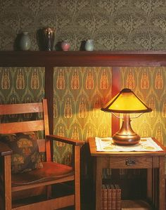 Craftsman - Arts & Crafts - wallpaper wainscot idea - my house is not arts and crafts, but I like this!