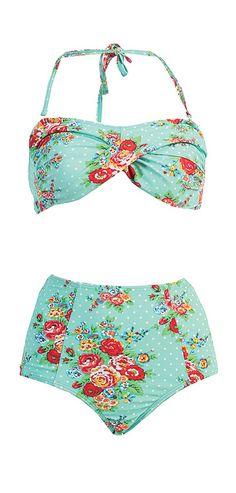 Mint retro floral two-piece bikini