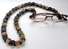 Eyeglass Chain in Vintage Buttons in Browns and Sage Greens by MRSButtons on Etsy