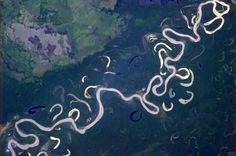 El río Beni, en el norte de Bolivia, visto desde la EEI (NASA, 2013)