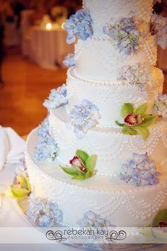 Orchids & Hydrangeas Wedding Cake