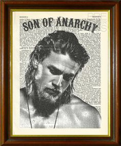 """Jax Teller - Sons of Anarchy / SamCro / TV Series / FX Channel / Upcycled Dictionary Page / TV Idol / Art Print / 8.5""""x11"""" (210x280 mm)"""