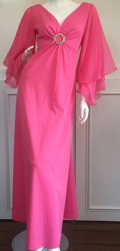 1960s/70s Vintage Hot Pink Evening Gown with V-Neck, Empire Waist, Large Rhinestone Wreath Brooch, & Chiffon Sleeves (10101CL) by LipstickGirlVintage on Etsy