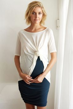 Frida Tee in Ivory & Margot Skirt. KIN Maternity