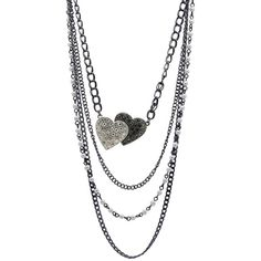 GUESS Necklace, Four Layer Heart Necklace ($15) ❤ liked on Polyvore featuring jewelry, necklaces, accessories, colar, collares, layered pearl necklace, long layered necklace, pearl strand necklace, white pearl necklace and pearl pendant necklace