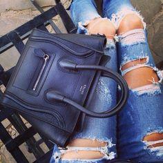 Philip Plein jeans and Celine luggage nano