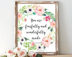 You are fearfully and wonderfully made, Psalm 139:14, bible verse, nursery wall…
