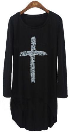 Black Long Sleeve Cross Print Asymmetrical T-Shirt