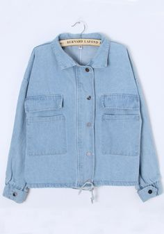 Light Blue Collar With Hat Denim Trench Coat