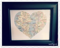 DIY frame heart map going away gift for a friend, loved one.