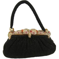 Preowned 1940s Black Beaded Evening Bag With Ornate Frame (12 650 UAH) ❤ liked on Polyvore featuring bags, handbags, black, clasp purse, black evening purse, beaded purse, beaded evening purse and black beaded handbag