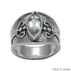 Ornate Sterling Silver Ring with Marquise Blue Topaz