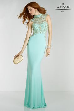 Alyce Paris 6518 Sheer Jersey Prom Gown