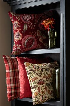Based around archive designs reminiscent of motifs from the Arts and Crafts Movement. Lined Curtains, Jacquard Fabric, Arts And Crafts Movement, Drapery Fabric, Art Object, Bed Pillows, Pillow Cases, Upholstery, Vintage