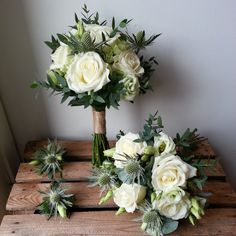 avalanche rose, thistle and lisianthus bouquet