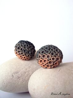 These ombre polymer clay earrings are totally handmade items from green and beige polymer clay colors.    They consist of small polymer clay holes