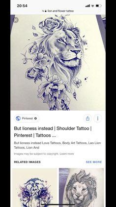 Female Lion Tattoo, Lion Head Tattoos, Leo Tattoos, Animal Tattoos, Hand Tattoos, Tattos, Side Hip Tattoos, Hip Tattoos Women, Tattoo Sleeve Designs