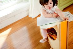 """Free Carpentry Project Plans: Curvaceous Children's Desk Lowe's Creative Ideas i so want this for my little girl! its so cute love the 'thinking out of the box"""" design Carpentry Classes, Carpentry Skills, Carpentry Projects, Woodworking Projects Plans, Diy Projects, Welding Projects, House Projects, Pallet Projects, Woodworking Guide"""