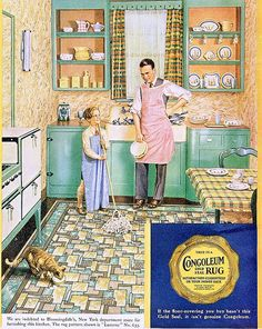 Congoleum ad, 1931 From the October 1931 issue of Ladies Home Journal. Just look at the kitchen. Vintage Advertisements, Vintage Ads, Vintage Decor, Vintage World Maps, Retro Ads, Vintage Pink, Vintage Furniture, Modern Furniture, Furniture Design