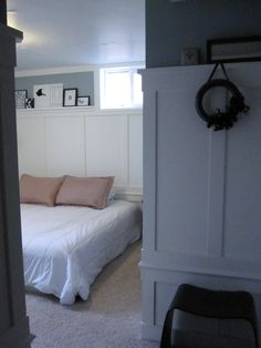 Looking past the wooden panels, this is a nice design for white walls and grey accent