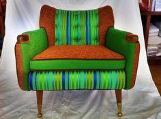 Danish Mod Chair With Vintage Boris Kroll fabric. $599.00, via Etsy.