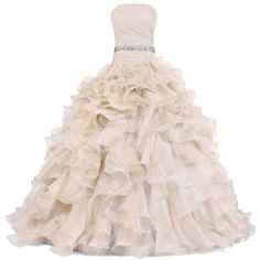 ANTS Women's Pretty Ball Gown Quinceanera Dress Ruffle Prom Dresses (€105) ❤ liked on Polyvore featuring dresses, gowns, gown, long dresses, pink frilly dress, pink ruffle dress, quinceanera prom dresses, quinceanera gowns and quinceanera ball gown