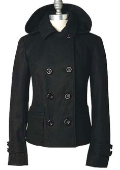 Short Hooded Peacoat With Thinsulate