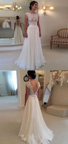 simple a line wedding dresses with appliques, elegant chiffon wedding dresses, cap sleeves lace wedding dresses
