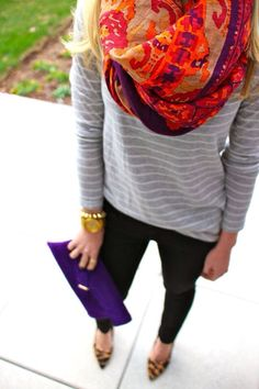 Bright floral scarf with neutral stripes