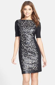 Nue by Shani Lasercut Faux Leather & Ponte Sheath Dress available at #Nordstrom