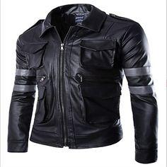 moda chaqueta de cuero de bolsillo de múltiples de los hombres – USD $ 41.99